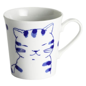 Ceramic-ai: White & Blue Cat Mug