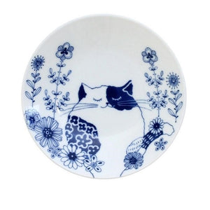 Ceramic-ai: Cat Flowers Small Plate Standing