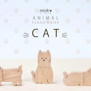 Mink is Love: Wooden USB 16GB Cat sitting