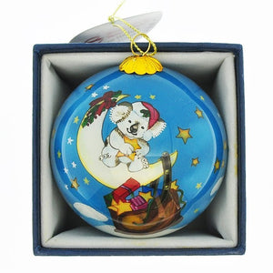 Triple 8 Design: Hand-painted Glass Bauble Koala on Moon with Stars