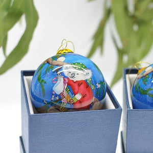 Triple 8 Design: Hand-painted Glass Bauble Koala in Pyjamas