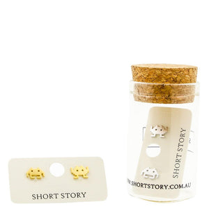 Short Story: Gold Space Invaders Earrings