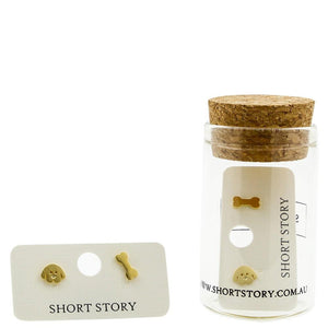 Short Story: Gold Dog and Bone Earrings