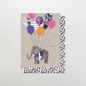 Stop The Clock: Greeting Card Brushstrokes Age is Irrelephant Balloons