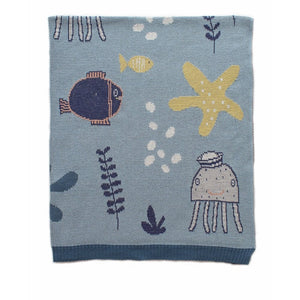 Indus Design: Baby Blanket Under the Sea Blue
