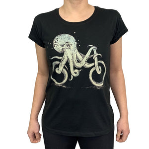 Octopus Bike Charcoal Womens Tee