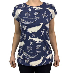 Sea Creatures Dusky Blue Womens Tee
