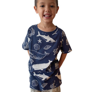 Sea Creatures Dusky Blue Kids Tee