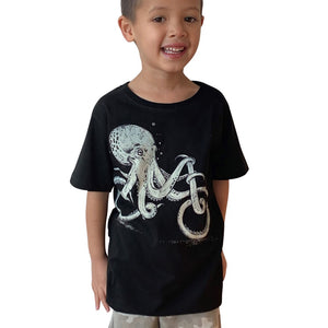 Octopus Bike Charcoal Kids Tee