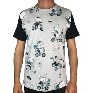 Biking Animals Grey Marle Pattern Tee