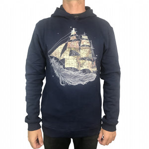 Wherever the Wind Blow Navy Mens Hoodie
