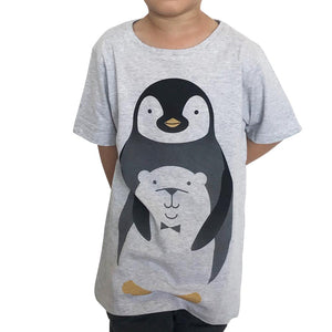 PenguinHug Grey Marle Kids Tee