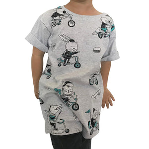 Biking Animals Grey Marle Kids Tee