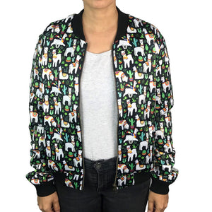 Women's Bomber Jacket: Alpacas