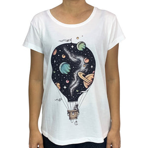 Interstellar Journey White Womens Tee