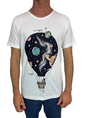 Interstellar Journey White Mens Tee