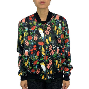 Women's Bomber Jacket: Bush Parrots
