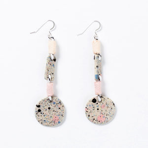 Shuh: Galaxy Long Earrings White Clay Cream Pink Binding