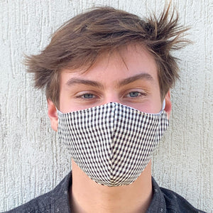 Black Gingham 3 Layered Face Mask
