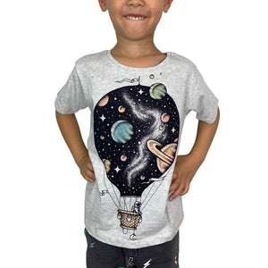 Interstellar Journey Grey Marle Kids Tee