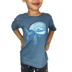 Turtle Home Steel Blue Kids Tee