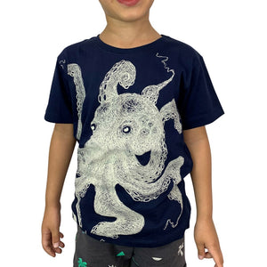 Octopus Lines Navy Kids Tee