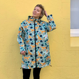 Raincoat: Leopards Mint Long
