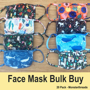 Face Masks - Bulk Buy Monsterthreads 20 Pack SAVE 30%!