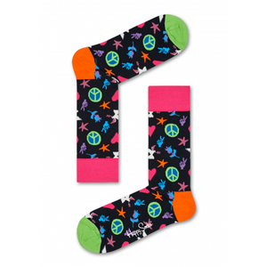 Peace & Love Sock Pink Black Green