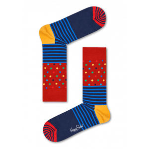 Stripes & Dots Sock Red Blue Yellow