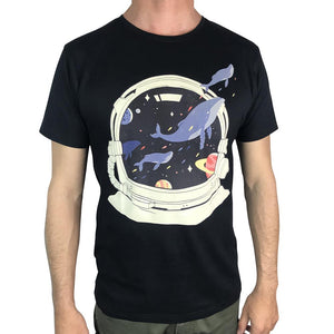 Space Balloon Whales Charcoal Mens Tee