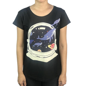 Space Balloon Whales Womens Tee