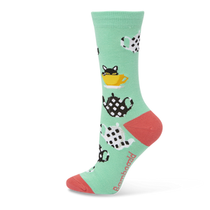 Bamboozld: Womens Kitty in a Teacup Mint Bamboo Socks