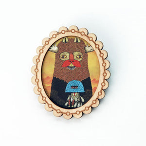 Wood Print Brooch: Passing Forest