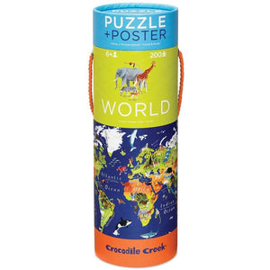 Crocodile Creek: 200pc Puzzle + Poster World Animals