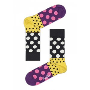 Dot Split Anniversary Sock Purple Yellow Black