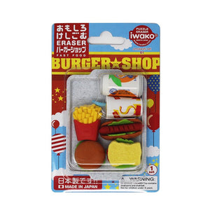 Puzzle Erasers Blister Pack - Fast Food
