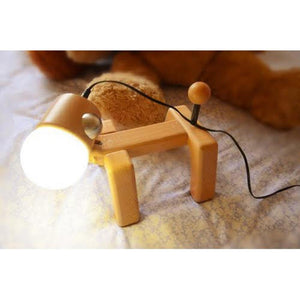Wooden Dog Touch Lamp