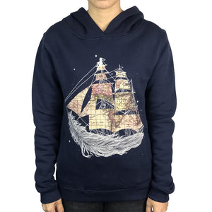 Wherever the Wind Blow Navy Womens Hoodie