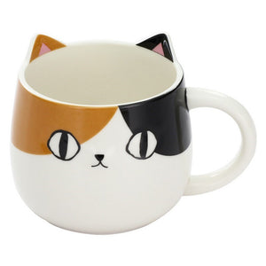 Ceramic-ai: Calico Cat Face Mug