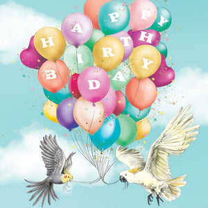 Greeting Card Bird Birthday Balloons