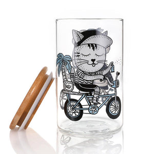 Canister Clear: Biking Koala and Cat