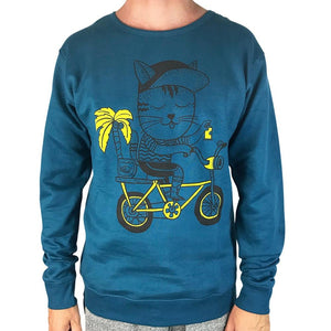 Cat Biking Blue Coral Sloppy Joe