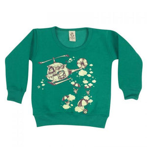 Helicopters Bright Green Kids Jumper