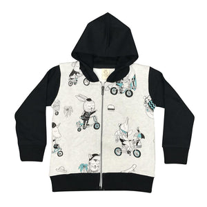 Bike Zoo Grey Marle Kids Zip Hoodie