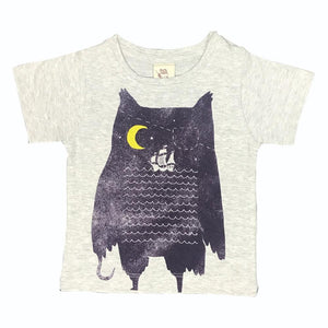 Pirate Owl Grey Marle Kids Tee