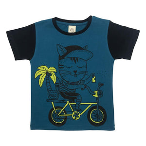 Cat Biking Blue Coral Kids Tee