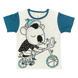 Koala Biking Grey Marle Kids Tee