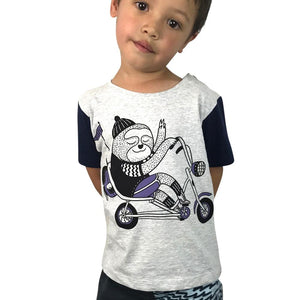 Sloth Biking Grey Marle Kids Tee