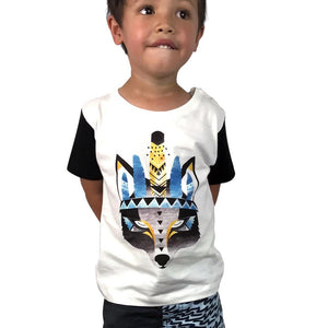 Boho Wolf Off White Kids Tee